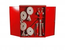 Two-wing hydrant cabinet with equipment